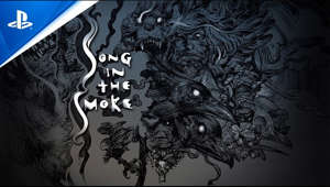 a close up of a logo: Song in the Smoke immerses players in a beautiful and deadly VR world where they must craft, forage, hunt, and fight to survive.  Take survival into your own hands, and stay alive by gathering materials to make tools, weapons, clothing, medicine and shelter. Use your club and bow to fend off strange beasts, battle the elements, and embark on a quest to uncover the secrets of the Song in the Smoke, coming to PS VR in 2021.