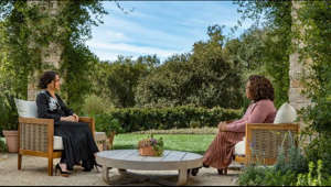 a person sitting at a picnic table: Oprah asks Meghan, The Duchess of Sussex, how she feels about the palace hearing her speak her truth on the special. Watch Oprah with Meghan and Harry: A Primetime Special on Sunday, Mar. 7 at 8/7c on CBS.