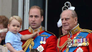 Prince William, Duke of Cambridge, Prince Philip, Duke of Edinburgh are posing for a picture