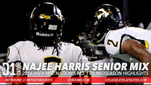 graphical user interface, website: http://CollegeLevelAthletes.com - Najee Harris Senior Football Highlights: Nation's No. 1 Ranked RB (Antioch) Alabama Commit.   Watch Najee Harris midseason football highlights. Army All-American Antioch HS running back is a machine.