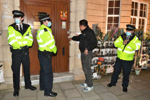 Myanmar ambassador to UK Kyaw Zwar Minn tries unsuccessfully to enter the Embassy of Myanmar in Mayfair, London. Picture date: Wednesday April 7, 2021. (Photo by Dominic Lipinski/PA Images via Getty Images)