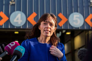 Infrastructure Minister Nichola Mallon speaking with media at the Balmoral MOT centre in Belfast. (Photo by Liam McBurney/PA Images via Getty Images)