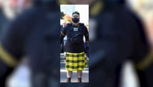 a person wearing a costume: Fresno police fire officer allegedly affiliated with Proud Boys