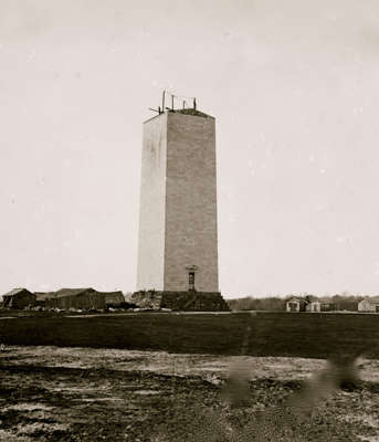 The construction of the Washington Monument, designed by the architect Robert Mills, Washington, DC, 1864. The American Civil War interrupted construction, which began in 1848 but was not finished until 1884.