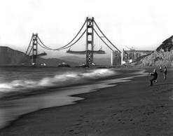 Fishermen on Baker Beach enjoy the view of the Golden Gate Bridge under construction, San Francisco, California, 1930s.