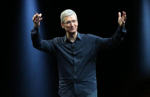 Apple CEO Tim Cook gestures during his keynote address at the Worldwide Developers Conference in San Francisco in June.