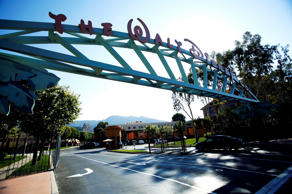 The entrance gate to Disney's headquarters in Burbank, California.<br />