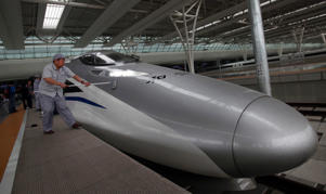 The CRH380A is an electric high-speed train, built in China. The 8-car train has a top speed of 416kph