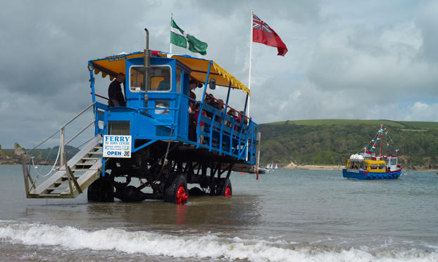Slide 1 of 16: South Sands ferry and sea tractor