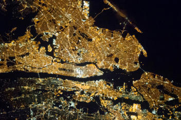 A night shot of the greater New York City metropolitan taken onboard the Expedition 35