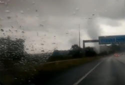 Tornado Filmed On UK Motorway