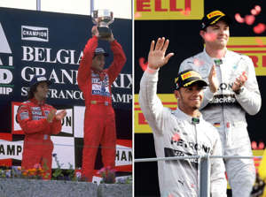 Ayrton Senna holds the trophy aloft as his team mate Alain Prost looks. While , Lewis Hamilton of Britain celebrates on the podium in front of his second-placed team mate Nico Rosberg.