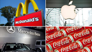 McDonald's, Apple, Mercedes-Benz, Coca-Cola