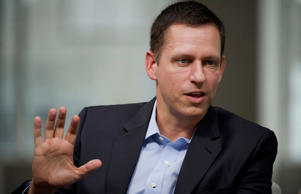 Peter Thiel, co-founder of PayPal Inc., speaks during a Bloomberg Studio 1.0 Interview in San Francisco, California, U.S., on Monday, Aug. 25, 2014. EBay Inc.'s PayPal service will start accepting bitcoins, opening up the world 's second-biggest Internet payment network to virtual currency transactions.