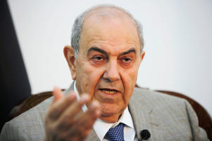 Iraq's Vice President Ayad Allawi speaks during an Interview with Reuters in Baghdad, Iraq April 17, 2017.
