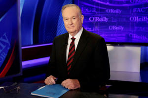 "FILE - In this Oct. 1, 2015 file photo, host Bill O'Reilly of ""The O'Reilly Factor"" on the Fox News Channel, poses for photos in the set in New York."