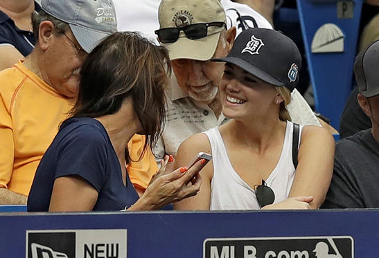 Slide 1 of 76: Actress and model Kate Upton, right, talks to a fan during the game between the Rays and the Tigers on April 20, in St. Petersburg, Fla.