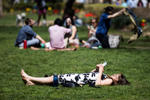 A woman takes her ease in the afternoon sun on a spring afternoon at  in Philadelphia recently.