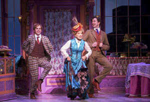 "This image released by O&M/DKC shows Taylor Trensch, fromleft, Bette Midler, and Gavin Creel during a performance of ""Hello, Dolly!"" in New York. Tony Award nominations will be announced on Tuesday, May 2, 2017. (Julieta Cervantes/O&M/DKC via AP)"