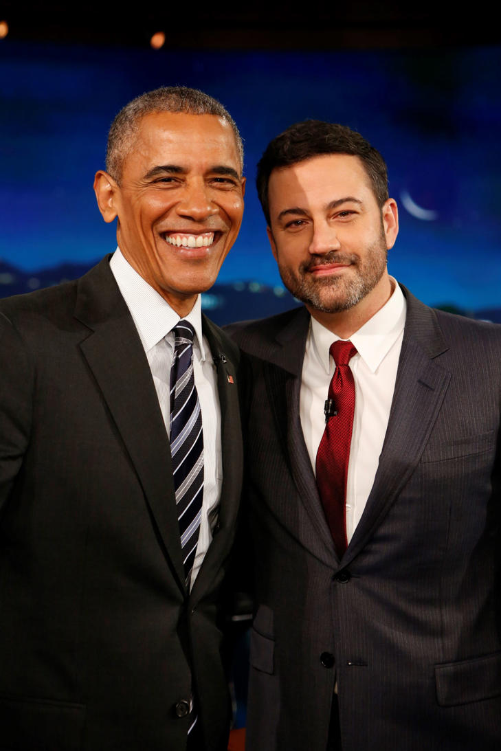 Obama and Jimmy Kimmel in 2016