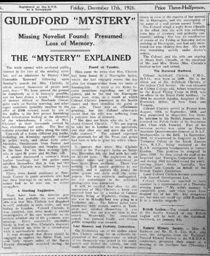 Article from the Surrey Advertiser at the time of Christie's disappearance in 1926 (Photo: Surrey Advertiser)