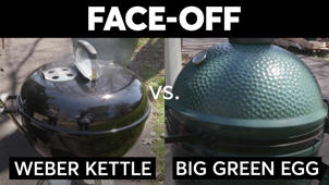 Charcoal Face-Off Weber Kettle vs. Big Green Egg