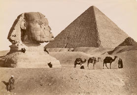 Sphinx and the Grand Pyramid in Egypt, 1929.