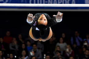 Rebecca Downie of Great Britain performs during women uneven bars apparatus fina...