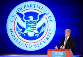 "Homeland Security Secretary John Kelly speaks during a forum ""Home & Away: Threats to America and the Department of Homeland Security response,"" Tuesday, April 18, 2017, at George Washington University in Washington."
