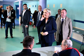 HENIN-BEAUMONT, FRANCE - APRIL 23: National Front Leader Marine Le Pen, casts her vote for the French elections in a polling station on April 23, 2017 in Henin Beaumont, France.