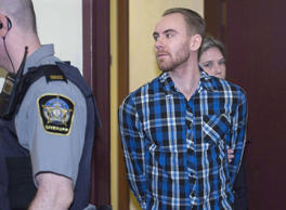 William Sandeson arrives for the start of his preliminary hearing at provincial court in Halifax on February 8, 2016.