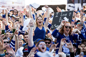 The Maple Leafs fans cheer before the Leafs play the Capitals in Game Six of the...