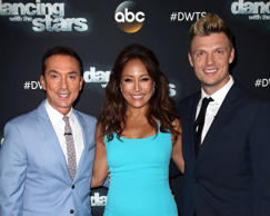 Competition judge Bruno Tonioli, dancer/competition judge Carrie Ann Inaba and s...