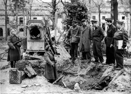 April 30, 1945. Soviet soldiers showing the gas cans in the ruins of HITLER's bunker which were used to burn the bodies of Adolf HITLER and Eva BRAUN. As Berlin was being invaded by the Russian army, the German chancellor Adolf HITLER and his wife Eva BRAUN committed suicide in their room and then, according to instructions from the F?hrer, the two bodies were burned. HITLER did not want the Soviets to be able to take his body and exhibit it.  (Keystone-France/Gamma-Keystone/Getty Images)