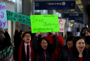 Demonstrators protest United Airlines at O'Hare International Airport on April 11, 2017 in Chicago, Illinois.