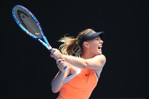 Maria Sharapova of Russia plays a backhand in her quarter final match against Se...