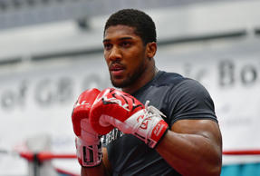 Anthony Joshua trains during the media workout at EIS Sheffield on April 19, 2017 in Sheffield, England.
