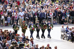 WELLINGTON, NEW ZEALAND - APRIL 25:  Wreaths are delivered by members of the armed services during the Anzac Day National Commemoration Service at Pukeahu National War Memorial Park on April 25, 2017 in Wellington, New Zealand. In 1916 the first Anzac Da
