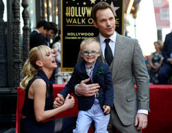 Actor Chris Pratt, right, is joined by his wife Anna Faris, left, and their son Jack during a ceremony to award Pratt a star on the Hollywood Walk of Fame on Friday, April 21, 2017, in Los Angeles. (Photo by Chris Pizzello/Invision/AP)