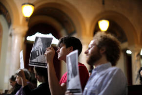 FILE: Immigrant supporters protest during the Los Angeles City Council ad hoc co...
