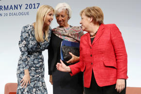 BERLIN, GERMANY - APRIL 25:  Ivanka Trump, daughter of U.S. President Donald Trump, International Monetary Fund (IMF) Managing Director Christine Lagarde and German Chancellor Angela Merkel talk on stage at the W20 conference on April 25, 2017 in Berlin,