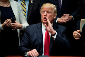 US President Donald Trump answers a question after signing an executive order about education in the Roosevelt Room of the White House April 26, 2017 in Washington, DC.