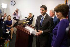 FILE: House Speaker Paul Ryan of Wis., accompanied by House Majority Leader Kevin McCarthy of Calif., center, and Rep. Cathy McMorris Rodgers, R-Wash., leaves a news conference after a GOP caucus meeting on Capitol Hill in Washington, Wednesday, April 26, 2017.