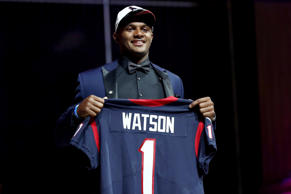 Deshaun Watson of Clemson reacts after being picked #12 overall by the Houston Texans during the first round of the 2017 NFL Draft at the Philadelphia Museum of Art on April 27, in Philadelphia, Penn.