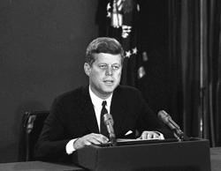 FILE - In this Oct. 22, 1962, file photo, President John F. Kennedy makes a nati...