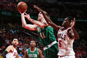 Kelly Olynyk (41) of the Boston Celtics shoots the ball against the Chicago Bulls  in Game Six of the Eastern Conference Quartefinals of the 2017 NBA Playoffs on April 28, at the United Center in Chicago, Ill.