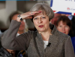 Britain's Prime Minister Theresa May speaks at an election campaign rally near A...