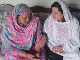 Canadian Senator Salma Ataullahjan (right) posted this photo Friday of her meeting with the mother of Mashal Khan, a 23-year-old journalism student at a university in Mardan, who was fatally beaten and shot April 13 by an enraged mob for supposedly blaspheming against Islam.