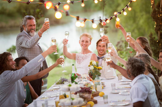 Slide 1 of 7: Young couple and their guests toasting with champagne during wedding reception in garden