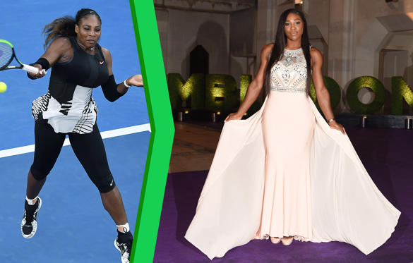 Slide 1 of 26: United States' Serena Williams hits a forehand to her sister, Venus, during the women's singles final at the Australian Open tennis championships in Melbourne, Australia, Saturday, Jan. 28, 2017.; Serena Williams attends the Wimbledon Champions Dinner at The Guildhall on July 12, 2015 in London, England.